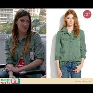 Madewell tomboy button down green utility shirt